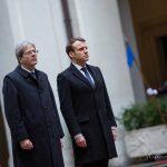 Emmanuel Macron incontra Paolo Gentiloni a Roma